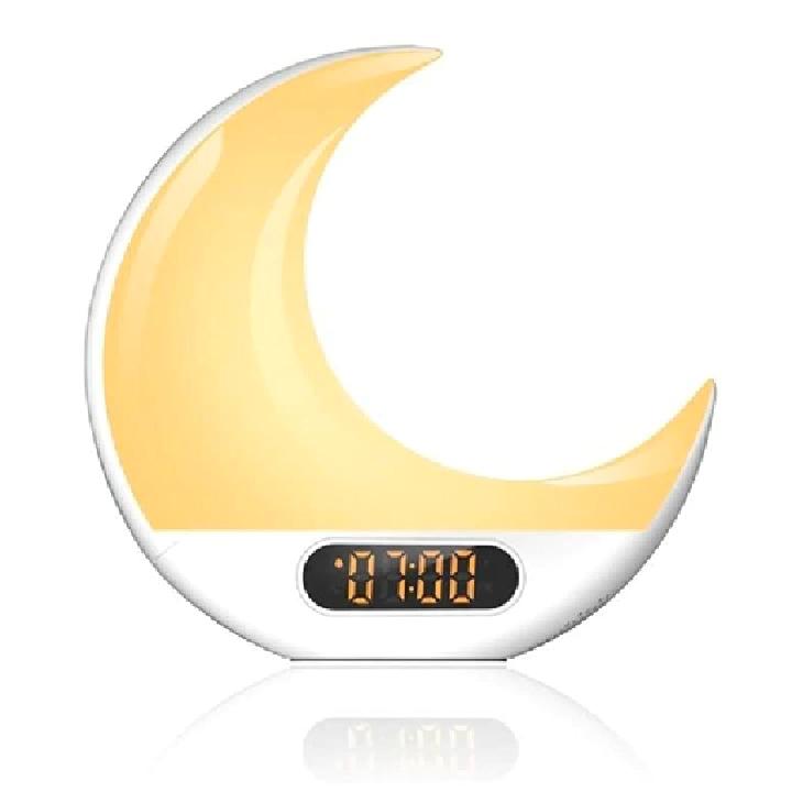 Amazon Vendita Calda di Figura della Luna di Simulare Alba Tramonto Wake Up Lampada Radio Sveglia