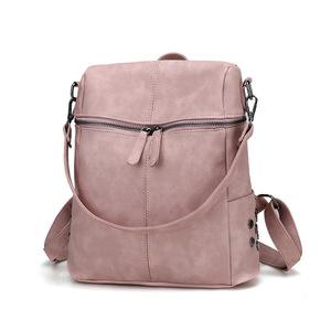 2019 Simple Style Backpack Women Leather Backpacks For Teenage Girls School Bags Fashion Vintage Solid Black Shoulder Bag