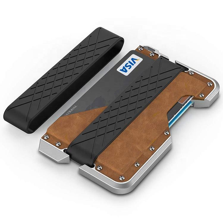 Amazon Hot Selling Slim Minimalist RFID Aluminum Metal Credit Card Holder Genuine leather Men Wallet With Bottle Opener