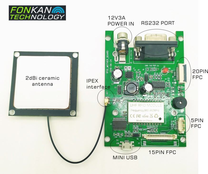 865-868MHz UHF RFID Development module with Antenna Android smartphone development kits