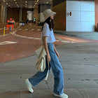 new style loose and casual wide-leg trousers straight leg jeans for women