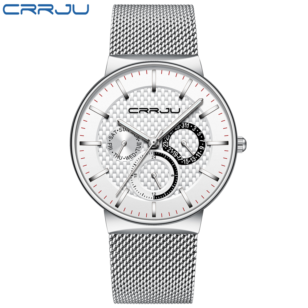 CRRJU 2153 hot verkoop black quartz horloge max prijs Mesh Band waterdicht datum week display ultra slim business man horloge ontwerp