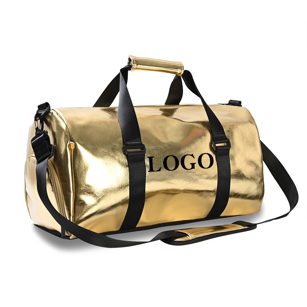Golden overnight bag 19.3inch Waterproof Leather Duffel bag with my hoodrat friend Wholesale travelbags Bald head Hoe Shit bags