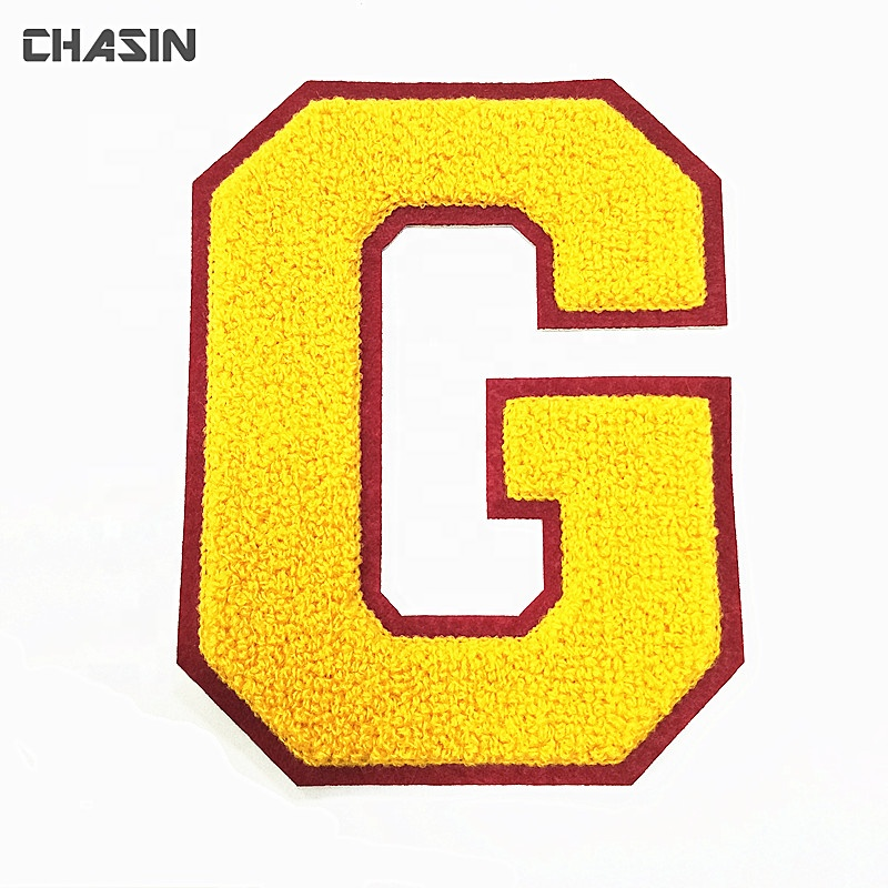 Custom chenille patch ALWAYSFRESH patch letters alphabet chenille patches letters sew on backing for clothing