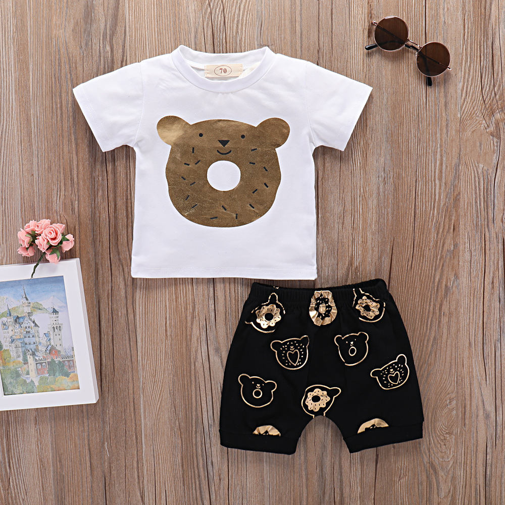 Baby clothing boys set 2 pcs bear doughnut design cartoon shirt + Pants born baby boy summer clothes set children kids clothing