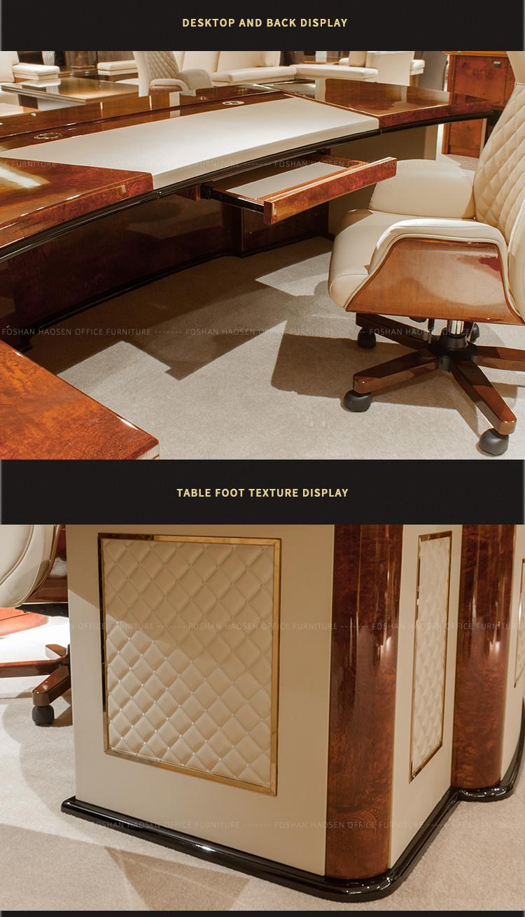 Luxury หนังสีขาว glossy ไม้ president โต๊ะทำงานเฟอร์นิเจอร์สำนักงานชุด