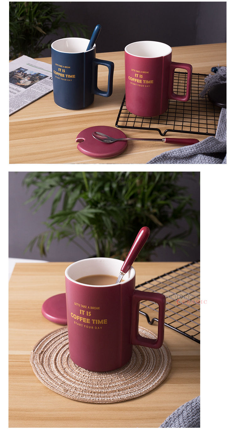 Hot Sale Good Quality Big Size Matt Solid Color Gold Print Ceramic Coffee Mug With Lid and Spoon