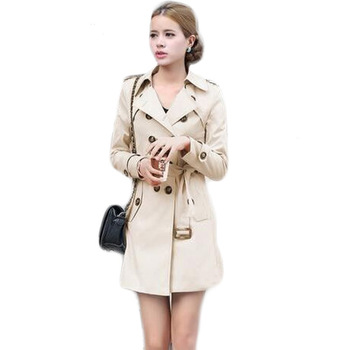 European Spring Autumn Double Breasted Slim Fit <strong>Trench</strong> <strong>Coat</strong> <strong>For</strong> <strong>Women</strong>