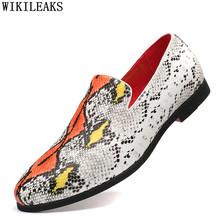 Лоферы со змеиным узором; Мужские модельные туфли; Коллекция 2020 года; Обувь для вечеринок; Мужская брендовая Свадебная обувь; Мужская Дизайн...(Китай)