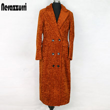 Nerazzurrri длинное зимнее пальто из искусственного меха для женщин, большие размеры 5xl, двубортный блейзер с длинным рукавом, с заостренным отво...(Китай)