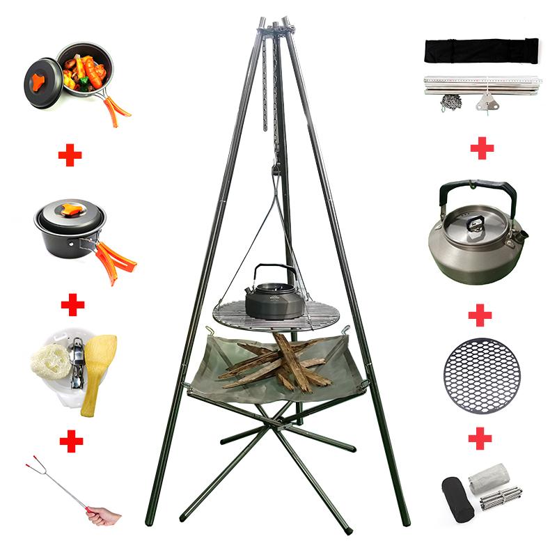 Yeni tasarım taşınabilir katlanır mini kamp paslanmaz çelik odun yanan şömineler soba ile Tripod standı
