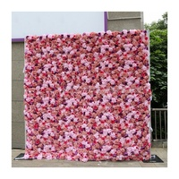 LFB1231 Colorful 2.4x2.4m cloth back roll up flower wall garden party floral backdrop wholesale