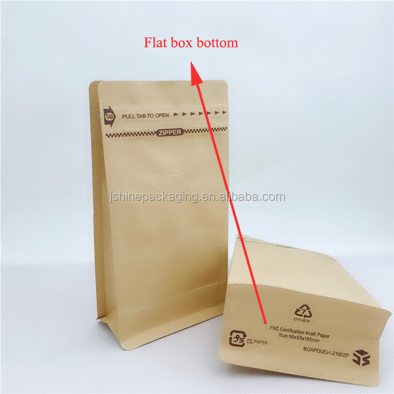 Custom Printed Resealable Kraft Paper With Valve Foil Aluminum Hemp Flat Bottom Coffee Bag