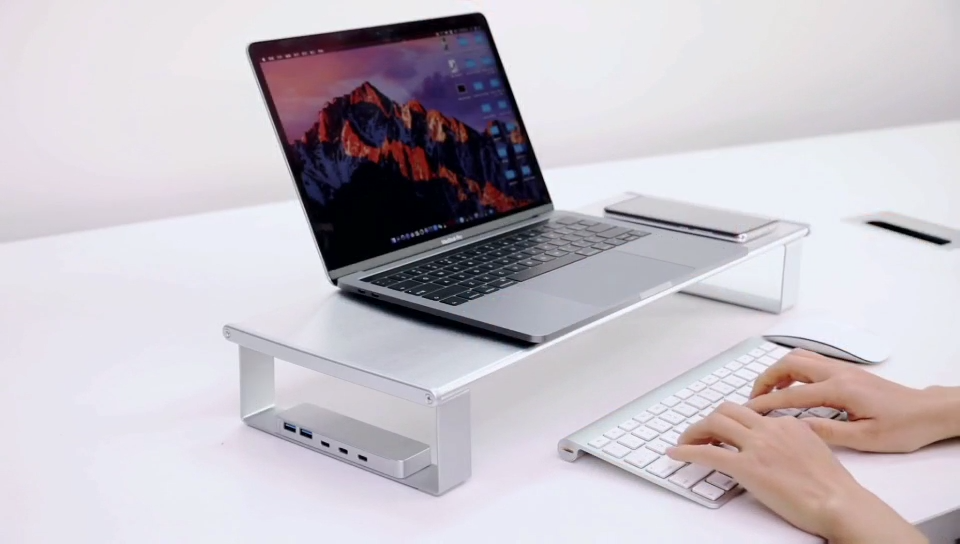 Aluminum monitor stand with USB3.0 USB C Wireless Charging stand Support Transfer Data and Charging monitor stand riser