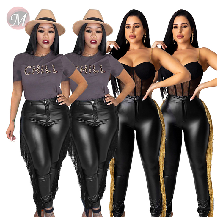 9100819 new black color stretch tassel PU pencil trouser Ladies Clothing Women Leather Pants