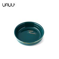 Luxury round deep glossy green kitchen ceramic dish set custom soy sauce dish with gold rim