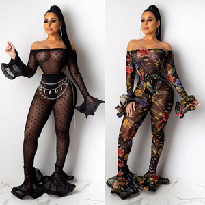 Nightclub sexy transparent mesh 2 piece bodycon jumpsuit set
