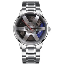 Wit Rvs <span class=keywords><strong>Custom</strong></span> Merk <span class=keywords><strong>3D</strong></span> Auto Wiel Mannen Fashion Horloges