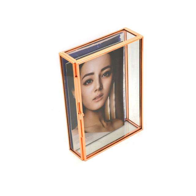 <strong>Vintage</strong> Picture <strong>Frame</strong> With Two Glass Squares/ Brass Hinged Picture wholesale different colors different sized glass shadow boxes