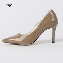 Брендовые туфли на высоком каблуке из матовой кожи открытые, коричневые, красные туфли-лодочки популярные туфли на шпильках 8 см, маленькие ...()