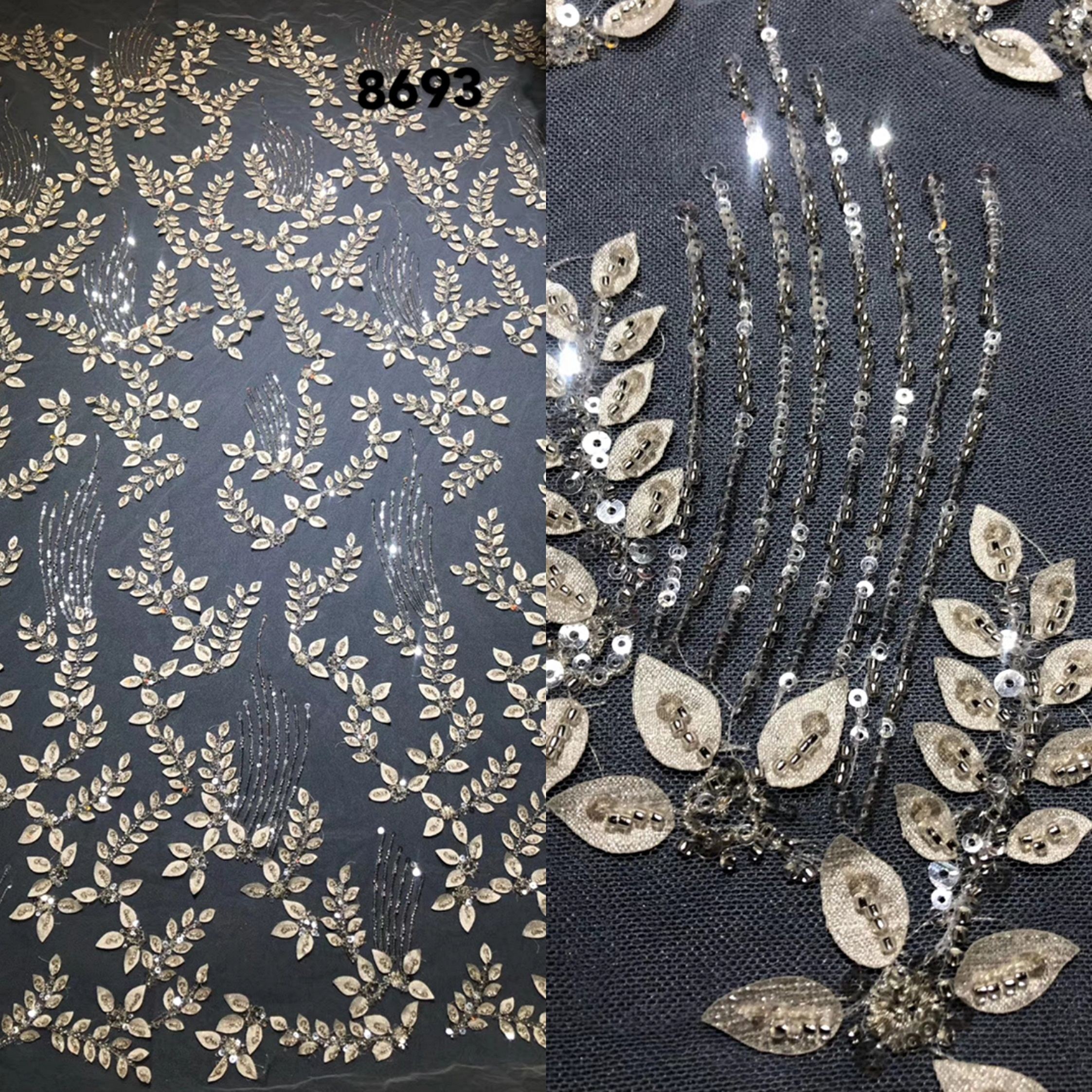 1 yd fabric silver sequin embroidered bridal african lace glitter wedding 3d