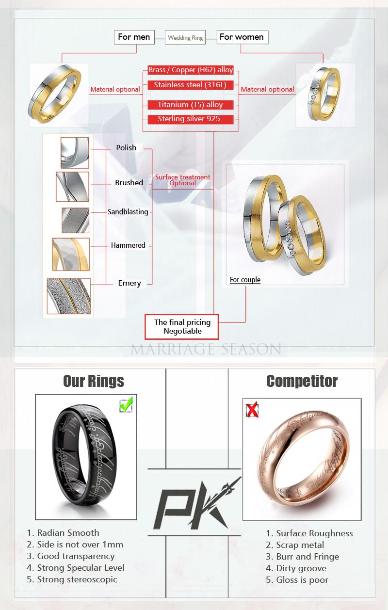 china wholesale titanium steel wedding band white gold mens women rose gold diamond prices