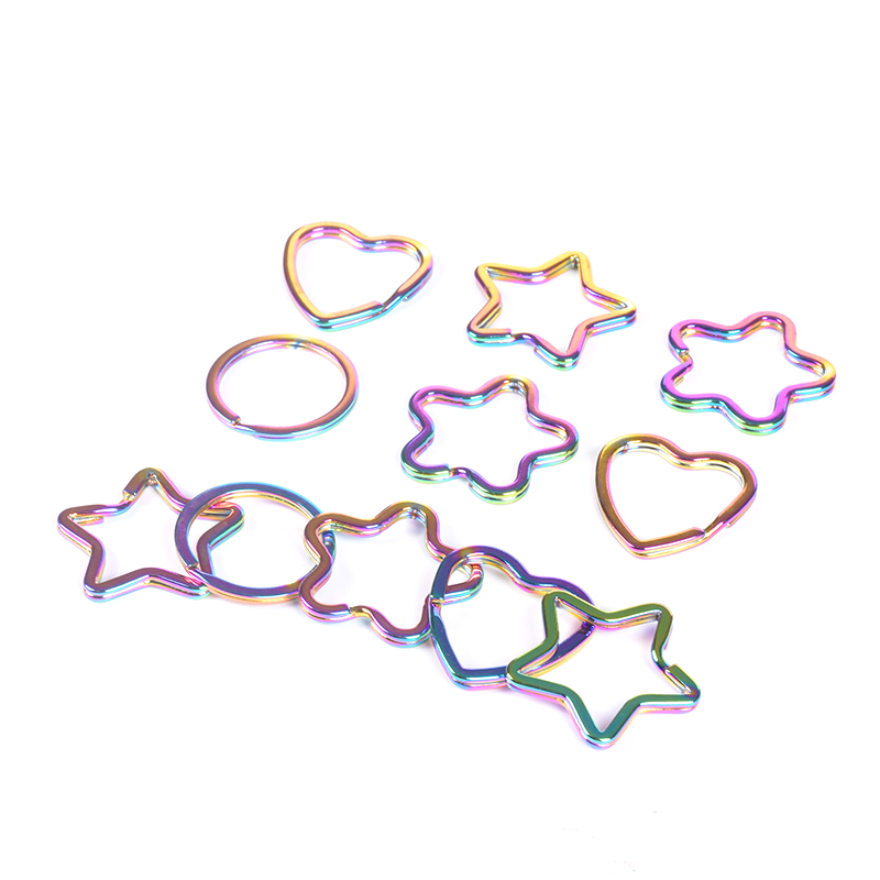 Ivoduff Supply Rainbow Color DIY Split Keyring, Metal Heart Shape and Micky Shape Flat Keyring, Snap Hooks