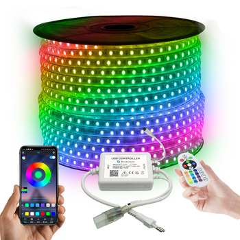 220V 110V LED Strip 5050 50m 100m IP67 Waterproof RGB 16 Colors Rope Lighting With RF Music Sync Bluetooth Remote Controller