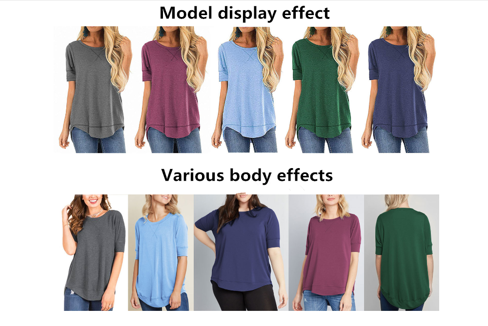 2020 Hot sale short front and long back t shirt womens short sleeve pure color round collar t shirt