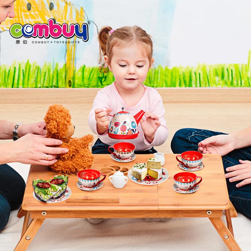 Kids pretend play tin gift box boutique teaware tea party set toy