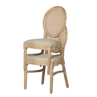 French Oak Wood Rattan Round Back Event Chairs Stackable Wedding Louis XVI Chair