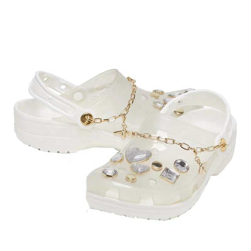 New fashion artificial diamond transparent <strong>crystal</strong> <strong>clear</strong> jelly sandals women clog jellie sandal flat sandal for ladies womenCros