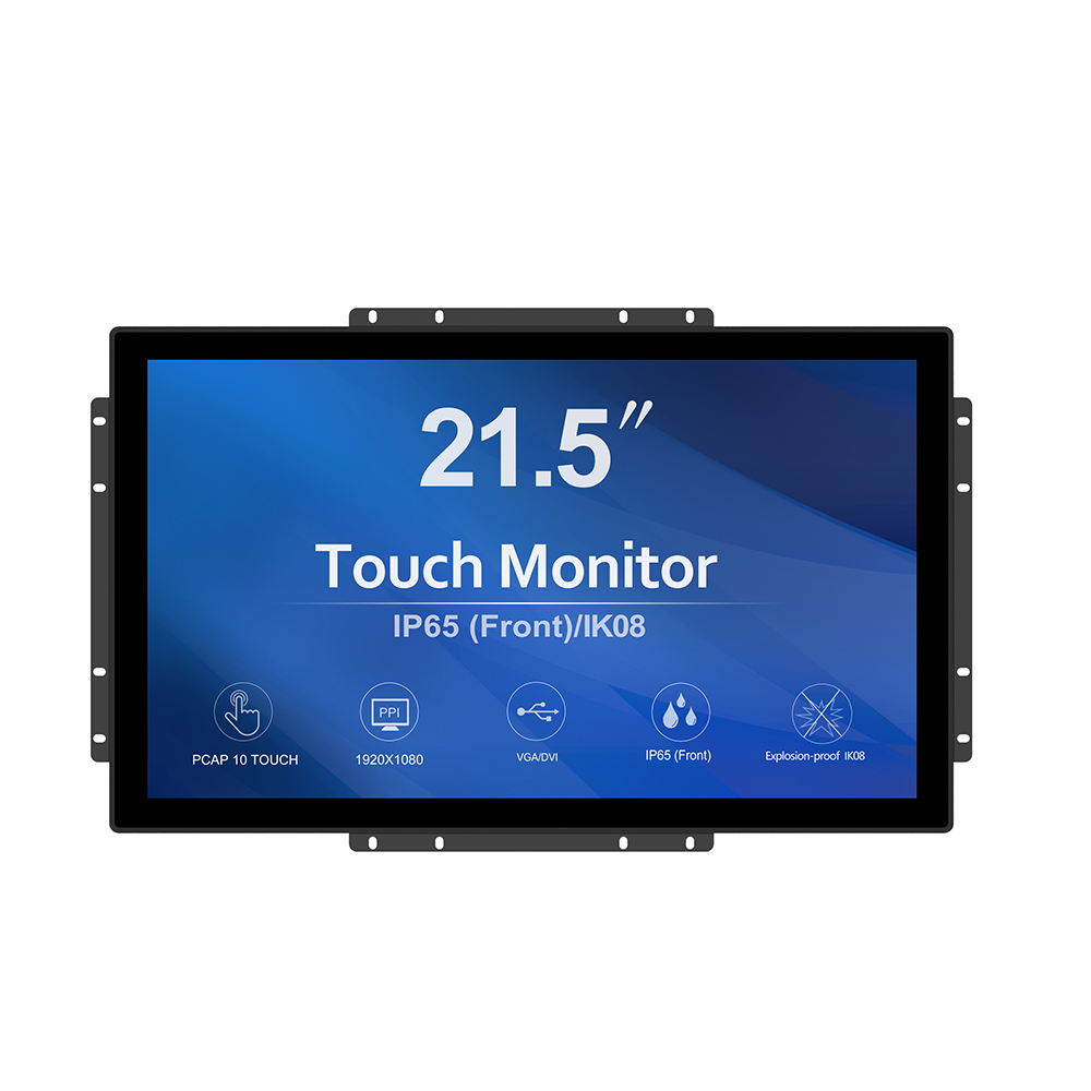 IP65 waterproof and antivandal <strong>lcd</strong> <strong>led</strong> monitor vga capacitive touch screen 21.5 inch open frame monitor