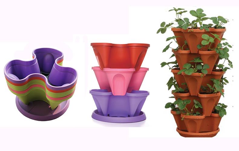 Wholesale PP Indoor Plant Pots Self Water Flower Pots Vertical Hydroponic Flower Pots Tower Garden