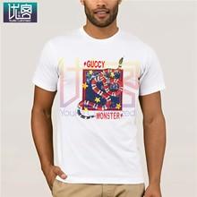Новинка 2020, мужские футболки с принтом GUCCY, повседневный топ с коротким рукавом и круглым вырезом, хлопковые футболки, топы, Юмористическая ф...(Китай)