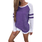 Best Service Purple Round Neck Stitching Blouse Women Tunic Tops