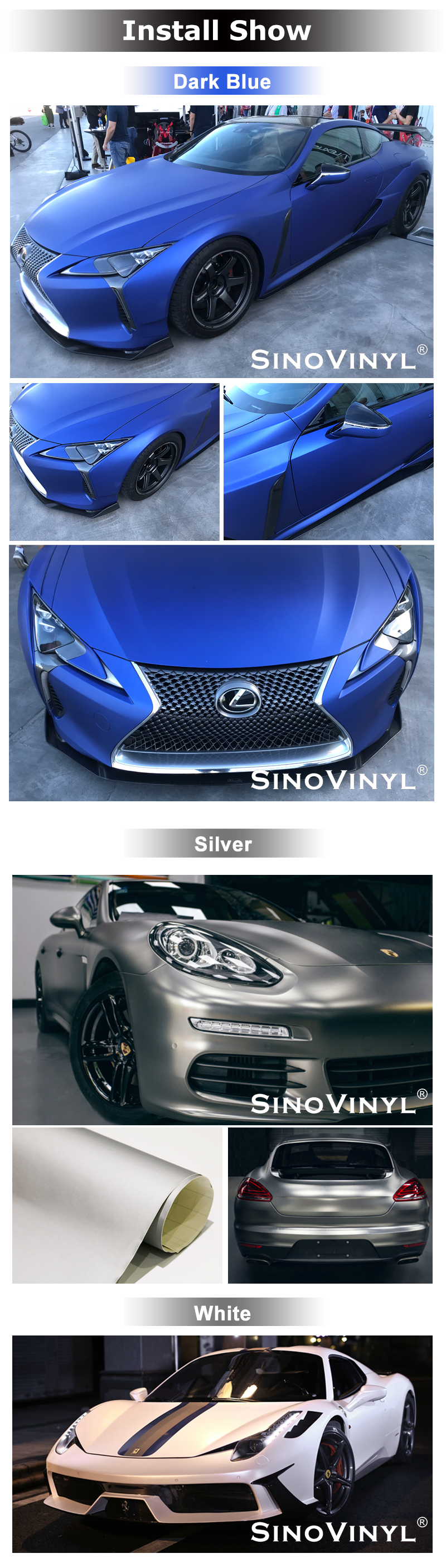 Good Quality Body Stickers Air bubble free PVC Vinyl Super Matte Silver Removable Self Adhesive Car Signs Vinyl Film