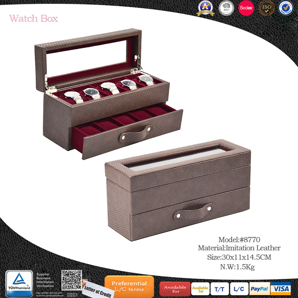 High-grade watch display window 10 slot wood custom watch pack box with drawer leather watch box with custom logo