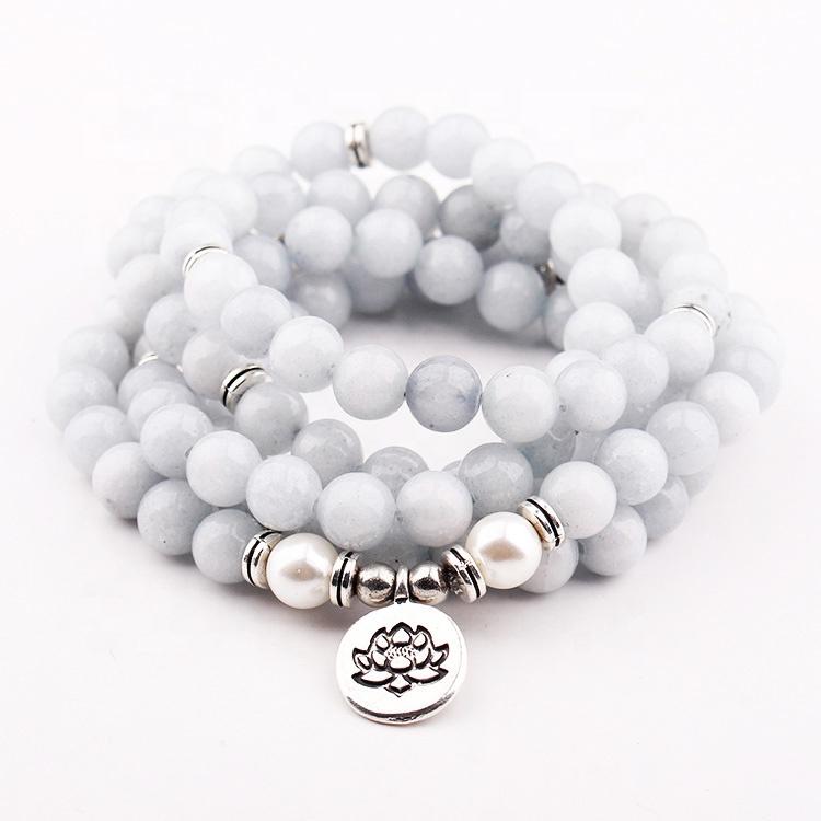 Хит продаж! Модный браслет с бусинами в виде лотоса, унисекс, бирюзовый браслет для йоги мала 108