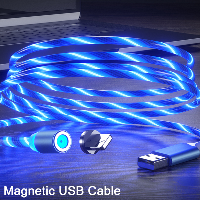 1M 2M LED Glow Flowing Magnetic Fast Charger 3 in 1 USB Cable IOS TYPE-C Micro usb Magnet Charging cord for iphone
