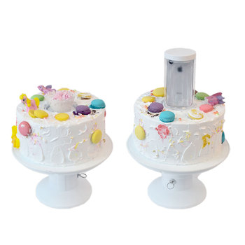 Wholesale 2020 New Creative Dessert Decorating Tools White Plastic Popingup Cake Stands Turntable Party Surprise Cake Stand