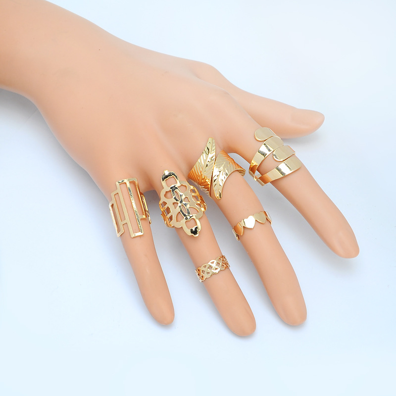 Wholesale 6 pcs Boho Geometric Leaf Open Knuckle Ring Set Hollow Flower Mid Finger Ring Set for Women Jewelry