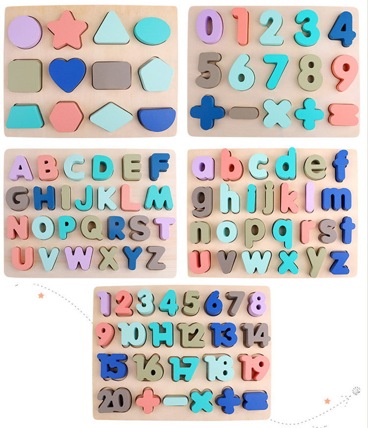 Kids Wooden 3D Alphabet Puzzle Children Capital Letter Digital Geometric Educational Montessori Alphabetic Toy For Toddler