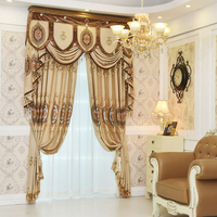 European Royal Luxury Embroidered Window Valance Curtain Ready Made Gold Blue Pink
