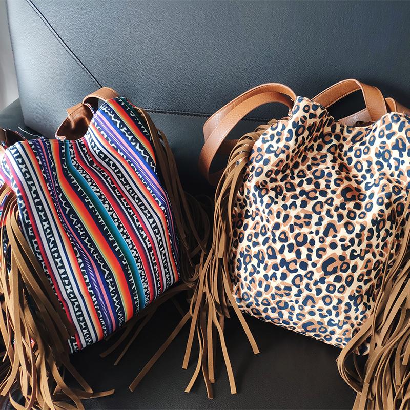 ขายส่งส่วนบุคคลของขวัญผู้หญิงปฏิบัติ Suede Fringe Tote PU หนัง Serape พู่ Leopard Hobo กระเป๋า