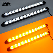 Tcart coche blanco Flexible/ámbar Switchback de faro flecha intermitente impermeable 12 LED DRL luces LED de luz diurna