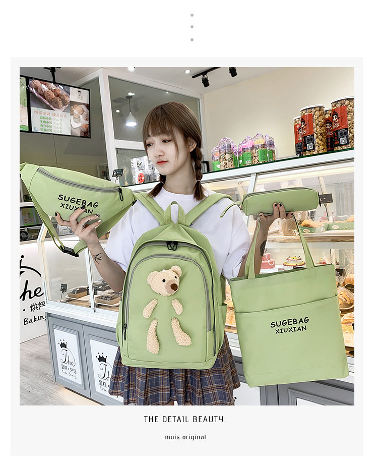 Wholesale Cheap Price Ins Style Oxford Girls Waist Bag Student High School Bag Backpack Set