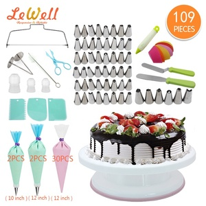 decorating kit cake Supplies tip set cake pan with Icing Smoother