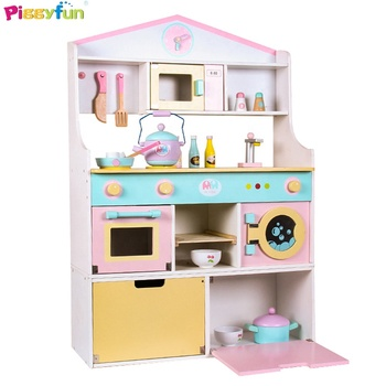 Wooden kids kitchen play set toy girls pretend playing educational kitchen toys