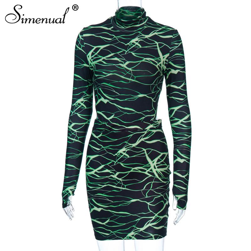 Simenual, сексуальные обтягивающие Модные женские комплекты, с длинным рукавом и перчатками, вечерние комплекты из 2 предметов, боди с принтом и ...(Китай)